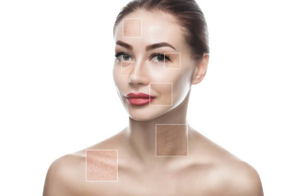 On the face are visible areas of problem skin - wrinkles and freckles.